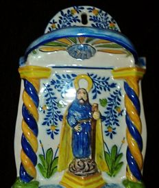 Large size home stoup - Holy Water font in glazed ceramic - stamped - 1950's.