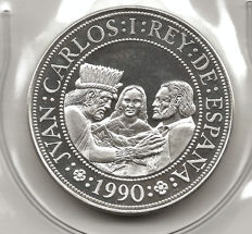 5th Centenary 1990  5,000 pesetas (2nd series) Proof Indigenous crafts
