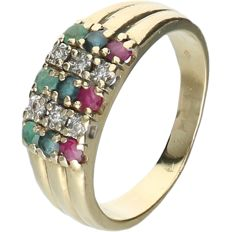 14 kt Yellow gold ring set with 3 emeralds, 3 sapphires, 3 rubies and 6 diamonds - Ring size: 17.75 mm