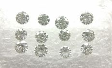 Lot of 12 Round cut diamonds total 1.16 ct D-E - IF-VVS   -No Reserve Price