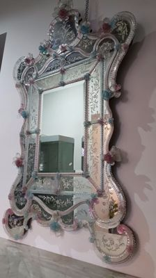 Large wall mirror in Murano blown glass - Italy, 1940s/60s