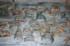 48 Very old antique chocolate or bonbon moulds from metal / Christmas tree ornaments