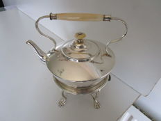 Silver Plated Tea Kettle with bone handle on stand, Walker & Hall, ca 1920.