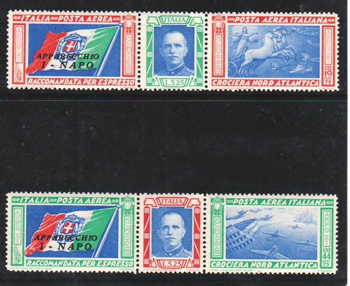 Kingdom of Italy 1933 - Airmail Triptychs I-NAPO North Atlantic Crossing - Sass. Nos. 51M/52M