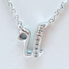 18 kt white gold initial necklace with a letter 'U' set with diamonds - 0.02 ct G/SI - length 40 cm