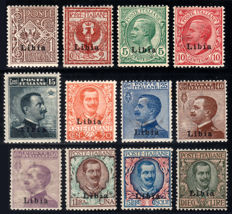 Libya, 1912 -- 15 overprint stamps, complete series of 12 values -- Sassone No.  1/12