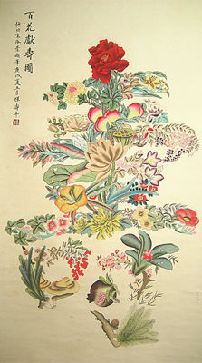 Hand-painted water-ink painting《恽寿平-百花献寿图》- China - late 20th century