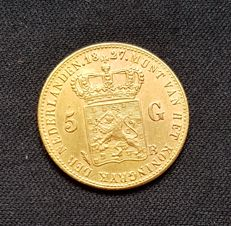 The Netherlands - 5 Guilder coin 1827 Brussels, Willem I - gold 1