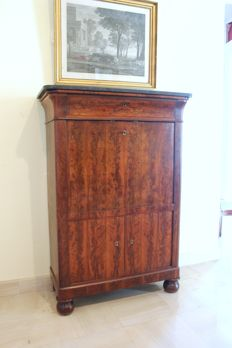 Mahogany Secretaire/Writing Desk with a Belgian black marble top, 19th century
