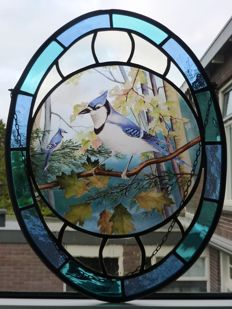 Beautiful window and or wall hanger - (special) blue jays