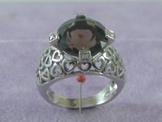Hand-chiselled ring in 925 silver and 13 ct smoky amethyst - diameter 13 mm