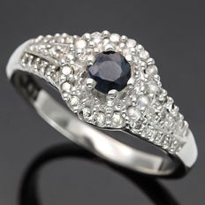 14K Gold Ring set with 0.32 cts Sapphire and 0.26 ct Diamond, Ring Size US 7 - No reserve price