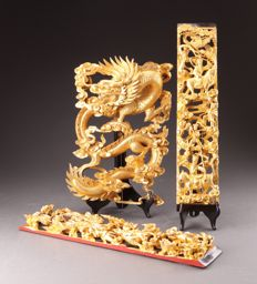 Gold-coloured wood combination - China - end 20th century (60cm)