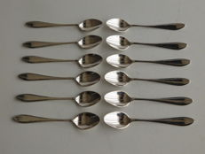 Twelve silver mocha spoons model point-filet, V. Kempen, Voorschoten, 1858-1924
