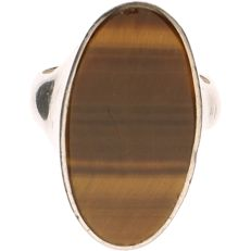 925 Silver ring set with Tiger's eye - Ring size: 17 mm
