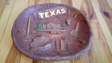 Beautiful Old Carved Wooden Texas Tray - Made in U.S.A. - 20th Century