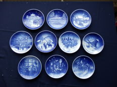Collection of 10 special Christmas plates from Copenhagen porcelain - Denmark