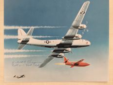 Original signed Print by  Robert A. Champine Test Pilot shwoing  its Bell X-2 plane below a carrier plane.