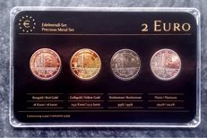 "Luxembourg - 2 Euro coins 2014 ""Precious Metals"" (4 different coins), refined, in set."