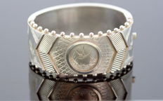 Antique Victorian Sterling Silver Bangle With Wildlife Decorative Engravings, C.1880