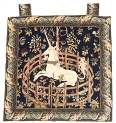 A machine woven Unicorn Tapestry - Mid of 20th Century - France - 57 cm x 57 cm
