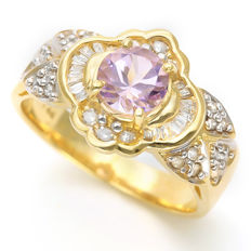 0.75 ct Amethyst with 0.345 ct Diamond Ring set in 14K Gold - Size: Europe 54 ***No reserve price***