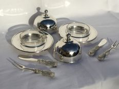 Two beautiful silver coloured butter bell jars with cutlery _ Stainless steel __ Metal blanchi
