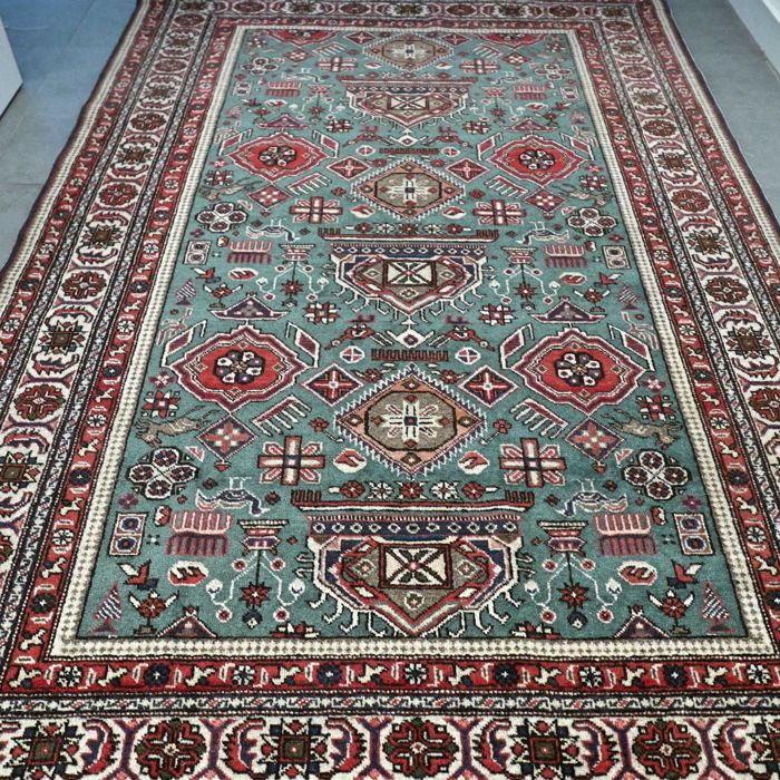 Very special mint green Kayseri Persian carpet - 215 x 140 - beautiful and UNIQUE design