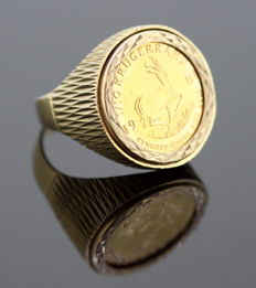 "Vintage  ""Gold Krugerrand of South Africa 1981"" 22K Gold Coin set in 9K Yellow Gold Ring, London 1981"