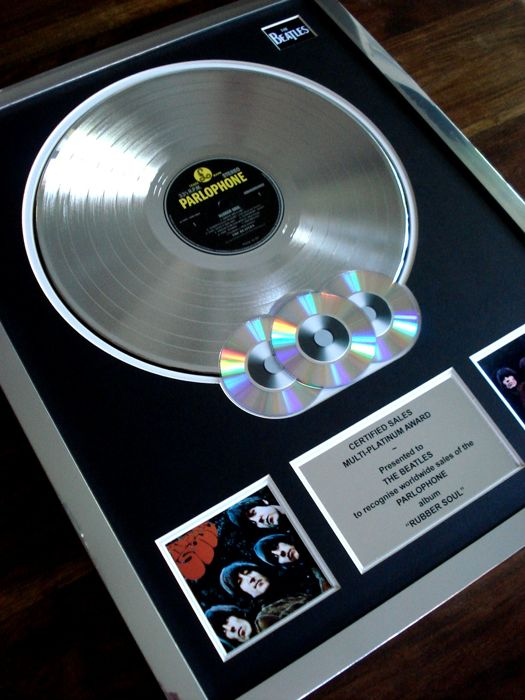 The Beatles Rubber Soul multi-platinum record disc LP award