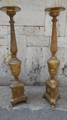 Wonderful pair of wooden candlesticks - Italy - 18th/19th century