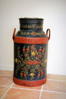 Beautiful traditional hand painted farmers milk churn 1920 Holandia