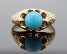 Antique Art Nouveau 12K Yellow Gold Ladies Ring With Turquoise (1.50 CT), By Nathan Brothers, Birmingham C.1910