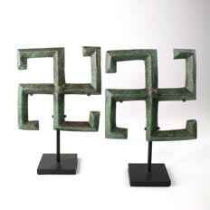 A pair of Thracian Bronze Chariot Fittings - HxW: 11.43 cm x 11.43 cm (4.5 inches x 4.5 inches)