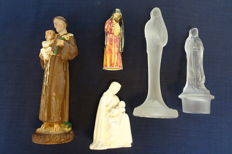 Five figurines from a monastery, various styles, plaster, glass, porcelain - the Netherlands