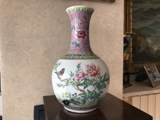 Cantonese vase, branded Rose family - China - second half of the 20th century