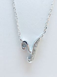 18 kt white gold initial necklace with a letter 'Y' set with diamonds - 0.02 ct G/SI - length 40 cm
