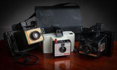 Polaroid Land Camera Instant 20 , Swinger 20 & Colour Swinger   (lot of 3 cameras) + 1 case