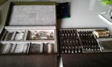 CHRISTOFLE silverware set, MARLY model, silver plated metal, 82 pieces, iIn the original case