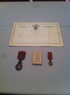 Rare - Full lot Medal of Sainte - Hélène: Medal and its box - diploma - miniature
