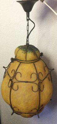 Venetian hanging lamp, yellow frosted glass