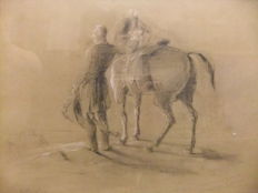 A.J.V (19th cent.) - Le duke de Wellington et son cheval