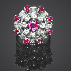 Ring made of 585 gold with rubies approx. 1.25 ct and brilliants approx. 0.80 ct - Mint condition