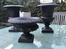 Charming set of planters - two model Louvres and one Versailles - grey/brown cast iron with light rust patina -