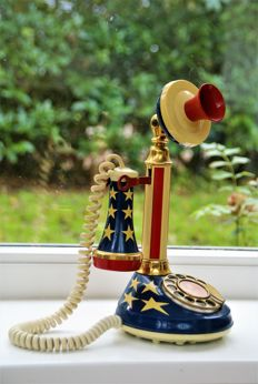 Vintage Stars and Stripes Candlestick Telephone - Deco-Tel american