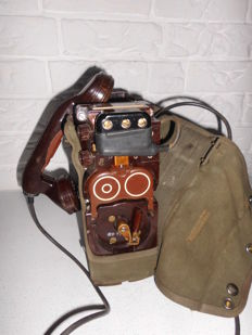 Dutch military bakelite field phone TA-3017, in original bag - mid 20th century, the Netherlands