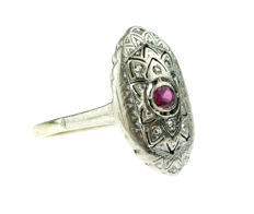 14 karat yellow gold Art Deco ring set with ruby in silver setting