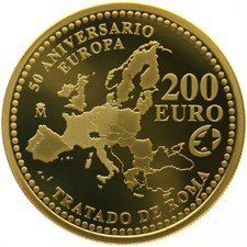 "Spain - 200 Euro 2007 ""Treaty of Rome"" - Juan Carlos - Gold"