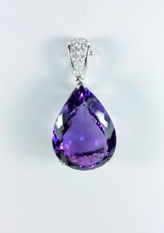 A beautiful 52.8ct Amethyst and Diamond pendant.