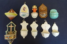 Various holy water vessels, wood, pottery, porcelain Ten pieces, very fine and special